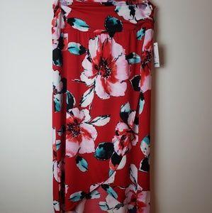 NWT Apt.9 Red Floral Tulip Hem Maxi Skirt XL